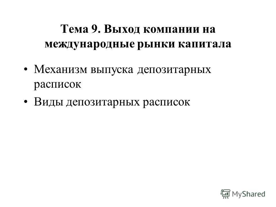 Тема 9. Выход компании на международные рынки капитала Механизм выпуска депозитарных расписок Виды депозитарных расписок