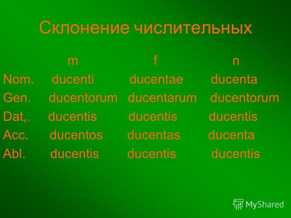 Склонение числительных m f n Nom. ducenti ducentae ducenta Gen. ducentorum ducentarum ducentorum Dat,. ducentis ducentis ducentis Acc. ducentos ducentas ducenta Abl. ducentis ducentis ducentis