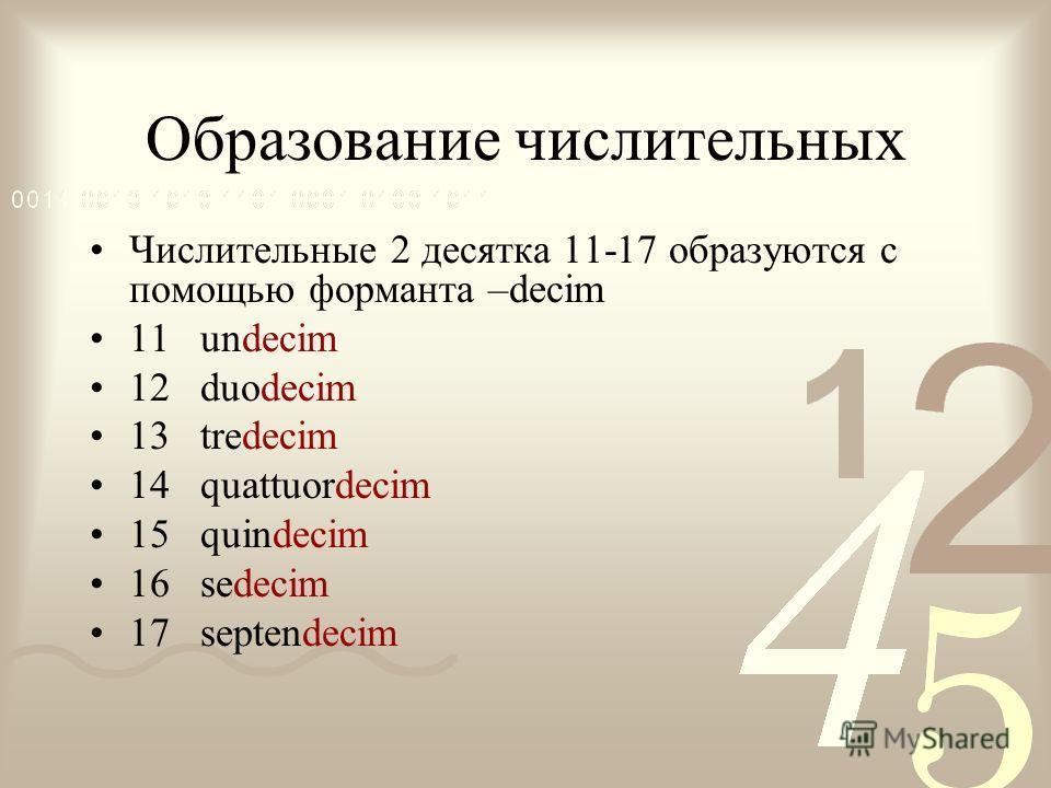 Образование числительных Числительные 2 десятка 11-17 образуются с помощью форманта –decim 11 undecim 12 duodecim 13 tredecim 14 quattuordecim 15 quindecim 16 sedecim 17 septendecim