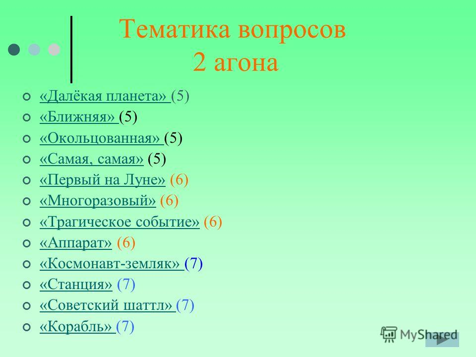 Тематика вопросов 2 агона «Далёкая планета» (5) «Далёкая планета» «Ближняя» (5) «Ближняя» «Окольцованная» (5) «Окольцованная» «Самая, самая» (5) «Самая, самая» «Первый на Луне» (6) «Первый на Луне» «Многоразовый» (6) «Многоразовый» «Трагическое событ