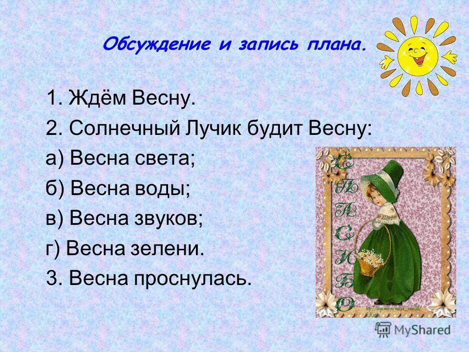 Обсуждение и запись плана. 1. Ждём Весну. 2. Солнечный Лучик будит Весну: а) Весна света; б) Весна воды; в) Весна звуков; г) Весна зелени. 3. Весна проснулась.