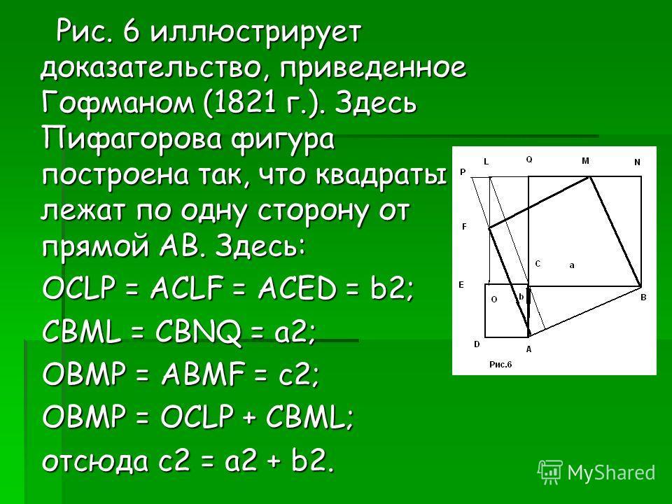 Рис. 6 иллюстрирует доказательство, приведенное Гофманом (1821 г.). Здесь Пифагорова фигура построена так, что квадраты лежат по одну сторону от прямой AB. Здесь: Рис. 6 иллюстрирует доказательство, приведенное Гофманом (1821 г.). Здесь Пифагорова фи