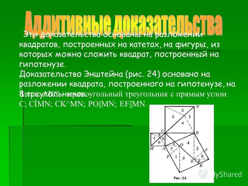 Эти доказательства основаны на разложении квадратов, построенных на катетах, на фигуры, из которых можно сложить квадрат, построенный на гипотенузе. Доказательство Энштейна (рис. 24) основано на разложении квадрата, построенного на гипотенузе, на 8 т