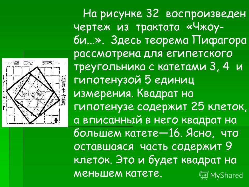 На рисунке 32 воспроизведен чертеж из трактата «Чжоу- би...». Здесь теорема Пифагора рассмотрена для египетского треугольника с катетами 3, 4 и гипотенузой 5 единиц измерения. Квадрат на гипотенузе содержит 25 клеток, а вписанный в него квадрат на бо