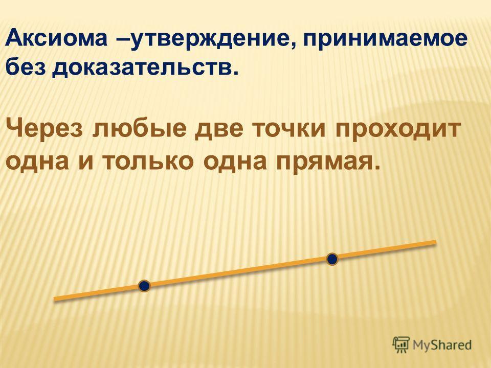 Аксиома –утверждение, принимаемое без доказательств. Через любые две точки проходит одна и только одна прямая.