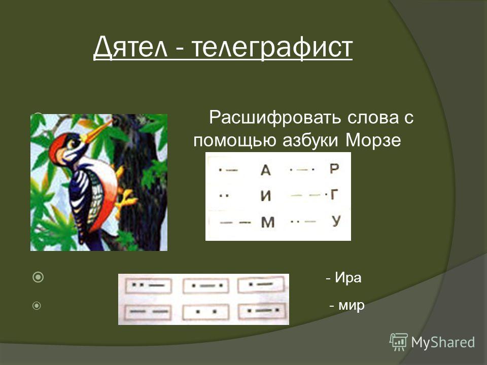 Дятел - телеграфист Расшифровать слова с по помощью азбуки Морзе - Ира - мир