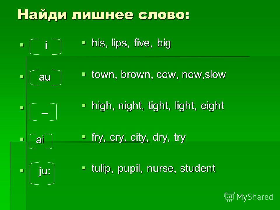 Найди лишнее слово: i i au au _ _ ai ai ju: ju: his, lips, five, big his, lips, five, big town, brown, cow, now,slow town, brown, cow, now,slow high, night, tight, light, eight high, night, tight, light, eight fry, cry, city, dry, try fry, cry, city,