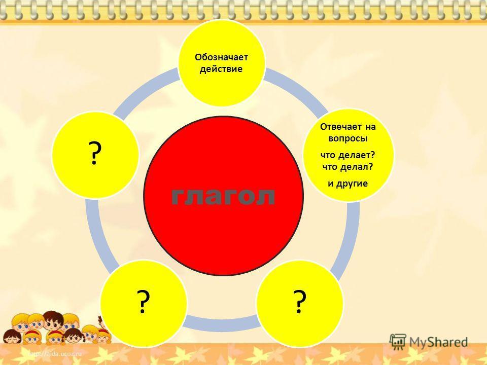 глагол Обозначает действие Отвечает на вопросы что делает? что делал? и другие ???