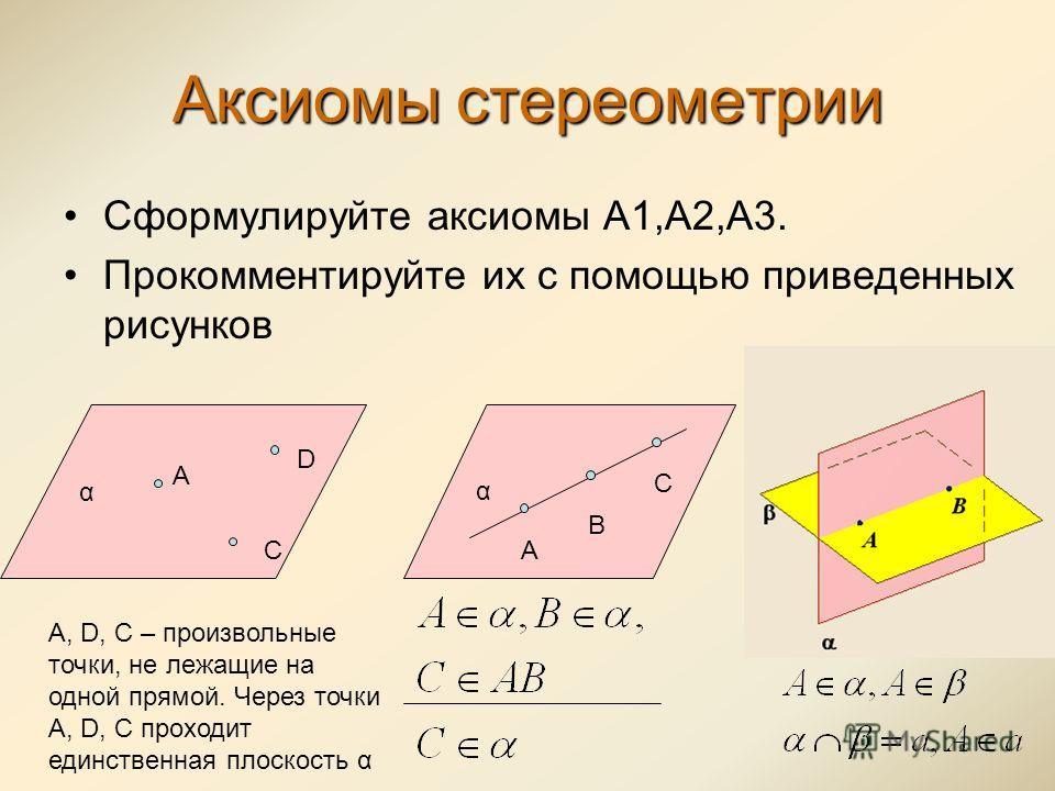 Аксиомы стереометрии Сформулируйте аксиомы А1,А2,А3. Прокомментируйте их с помощью приведенных рисунков α А C D A, D, C – произвольные точки, не лежащие на одной прямой. Через точки A, D, C проходит единственная плоскость α α А В С