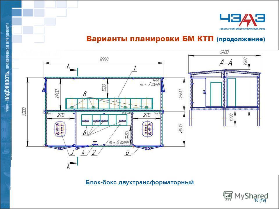 10 (19) Блок-бокс двухтрансформаторный Варианты планировки БМ КТП (продолжение)