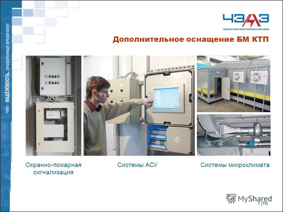 7 (19) Дополнительное оснащение БМ КТП Охранно-пожарная сигнализация Системы микроклиматаСистемы АСУ