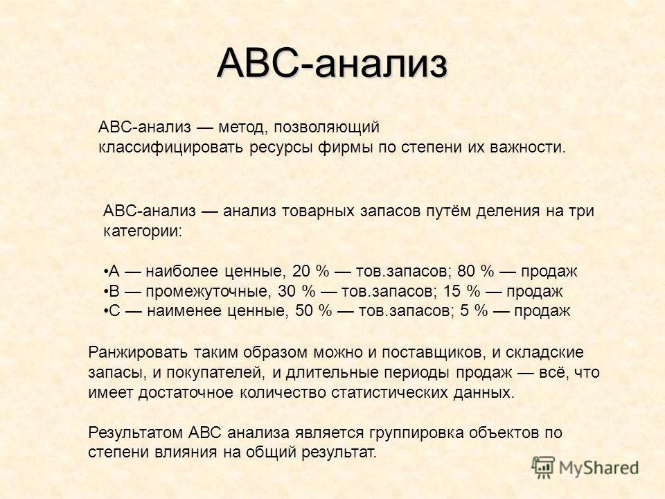 АВС-анализ ABC-анализ метод, позволяющий классифицировать ресурсы фирмы по степени их важности. ABC-анализ анализ товарных запасов путём деления на три категории: А наиболее ценные, 20 % тов.запасов; 80 % продаж В промежуточные, 30 % тов.запасов; 15
