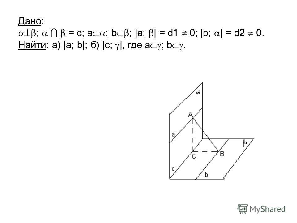 Дано: ; = c; a ; b ; |a; | = d1 0; |b; | = d2 0. Найти: а) |a; b|; б) |c; |, где а ; b.