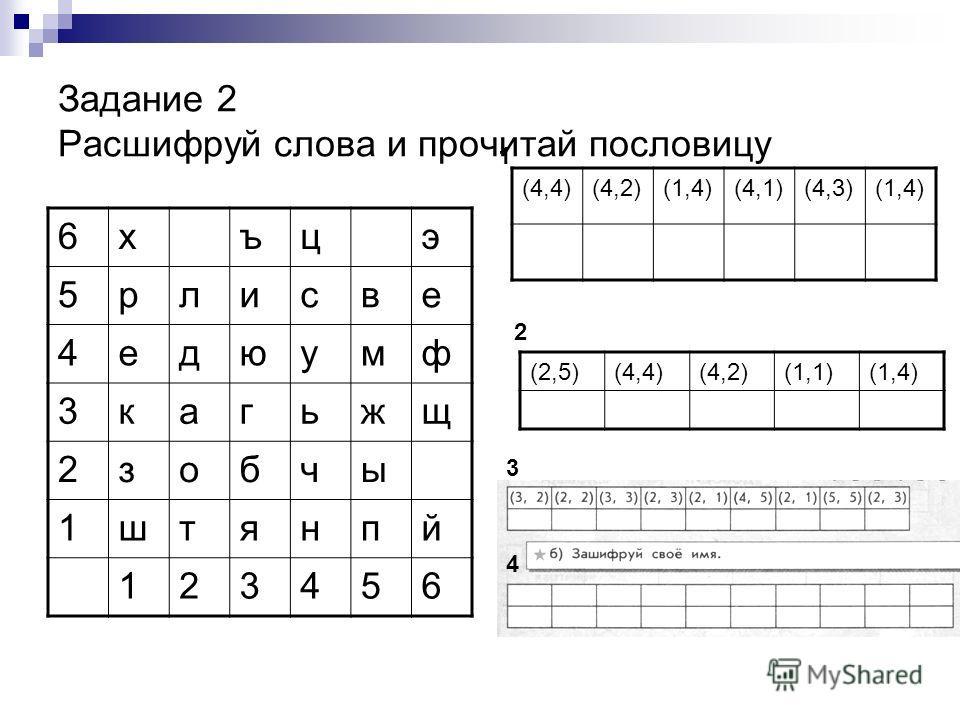 Задание 2 Расшифруй слова и прочитай пословицу 6хъцэ 5рлисве 4едюумф 3кагьжщ 2зобчы 1штянпй 123456 (4,4)(4,2)(1,4)(4,1)(4,3)(1,4) 1 (2,5)(4,4)(4,2)(1,1)(1,4) 2 3 4