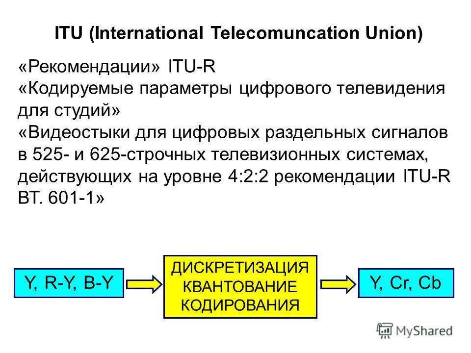 ITU (International Telecomuncation Union) «Рекомендации» ITU-R «Кодируемые параметры цифрового телевидения для студий» «Видеостыки для цифровых раздельных сигналов в 525- и 625-строчных телевизионных системах, действующих на уровне 4:2:2 рекомендации