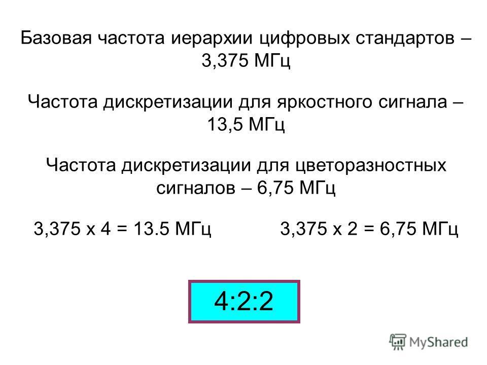 Базовая частота иерархии цифровых стандартов – 3,375 МГц Частота дискретизации для яркостного сигнала – 13,5 МГц Частота дискретизации для цветоразностных сигналов – 6,75 МГц 3,375 х 4 = 13.5 МГц 3,375 х 2 = 6,75 МГц 4:2:2