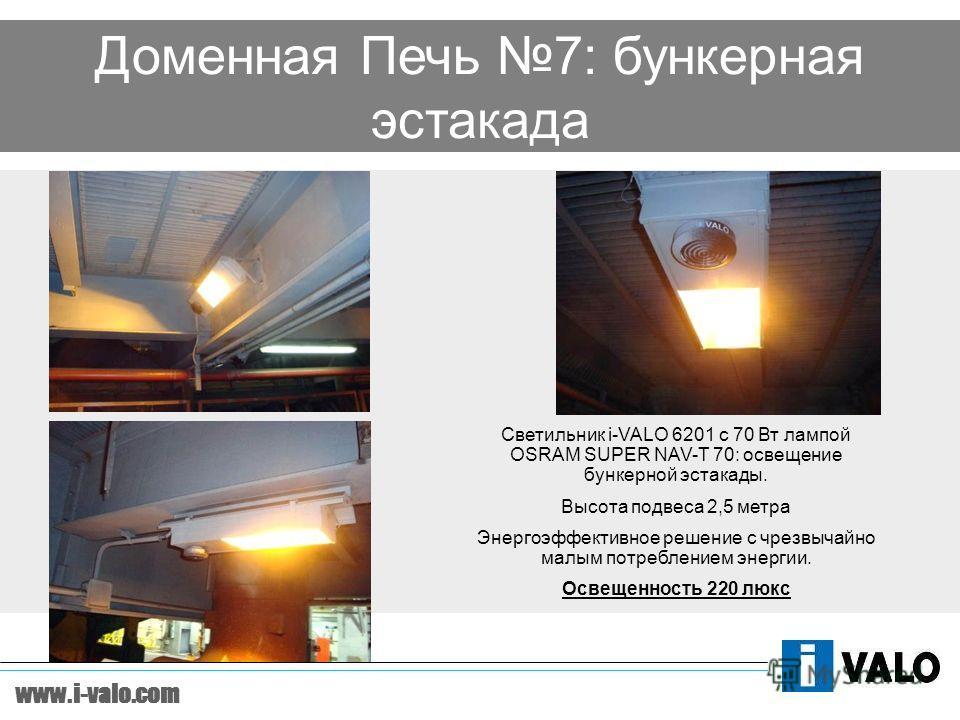 www.i-valo.com Доменная Печь 7: бункерная эстакада Светильник i-VALO 6201 с 70 Вт лампой OSRAM SUPER NAV-T 70: освещение бункерной эстакады. Высота подвеса 2,5 метра Энергоэффективное решение с чрезвычайно малым потреблением энергии. Освещенность 220