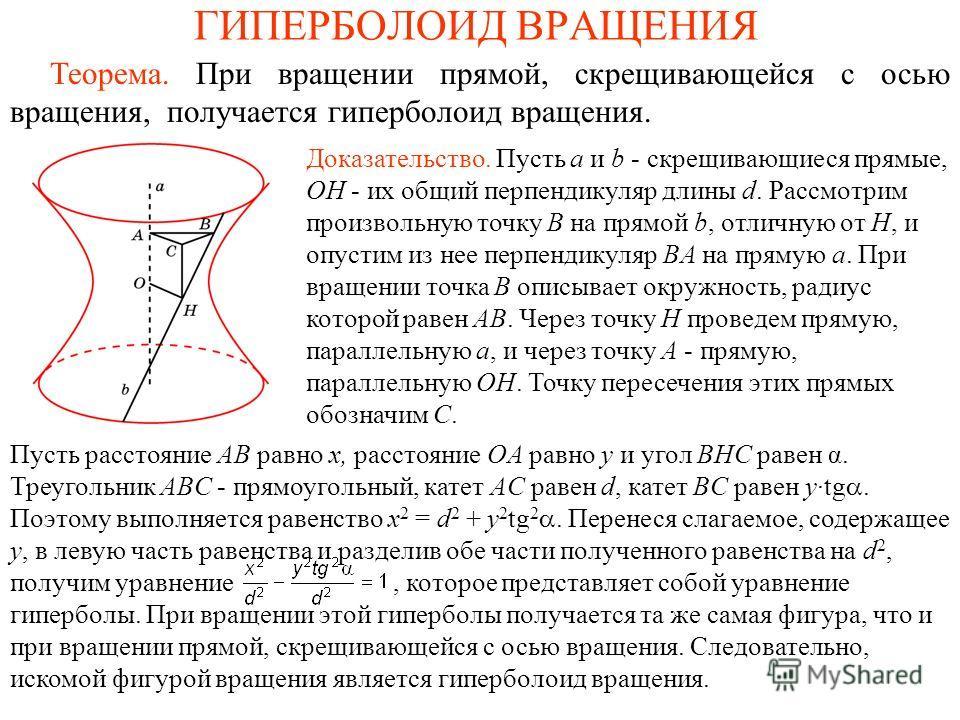 ГИПЕРБОЛОИД ВРАЩЕНИЯ Теорема. При вращении прямой, скрещивающейся с осью вращения, получается гиперболоид вращения. Доказательство. Пусть a и b - скрещивающиеся прямые, OH - их общий перпендикуляр длины d. Рассмотрим произвольную точку B на прямой b,