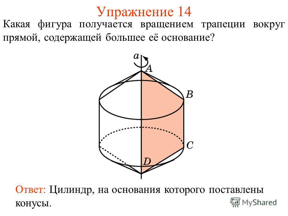 Упражнение 14 Какая фигура получается вращением трапеции вокруг прямой, содержащей большее её основание? Ответ: Цилиндр, на основания которого поставлены конусы.