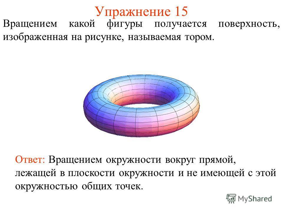 Упражнение 15 Вращением какой фигуры получается поверхность, изображенная на рисунке, называемая тором. Ответ: Вращением окружности вокруг прямой, лежащей в плоскости окружности и не имеющей с этой окружностью общих точек.