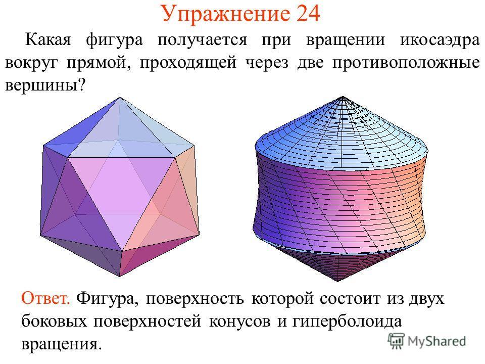 Упражнение 24 Какая фигура получается при вращении икосаэдра вокруг прямой, проходящей через две противоположные вершины? Ответ. Фигура, поверхность которой состоит из двух боковых поверхностей конусов и гиперболоида вращения.