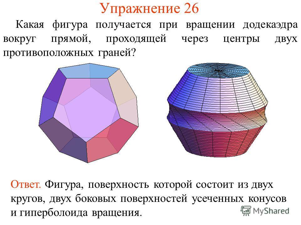 Упражнение 26 Какая фигура получается при вращении додекаэдра вокруг прямой, проходящей через центры двух противоположных граней? Ответ. Фигура, поверхность которой состоит из двух кругов, двух боковых поверхностей усеченных конусов и гиперболоида вр