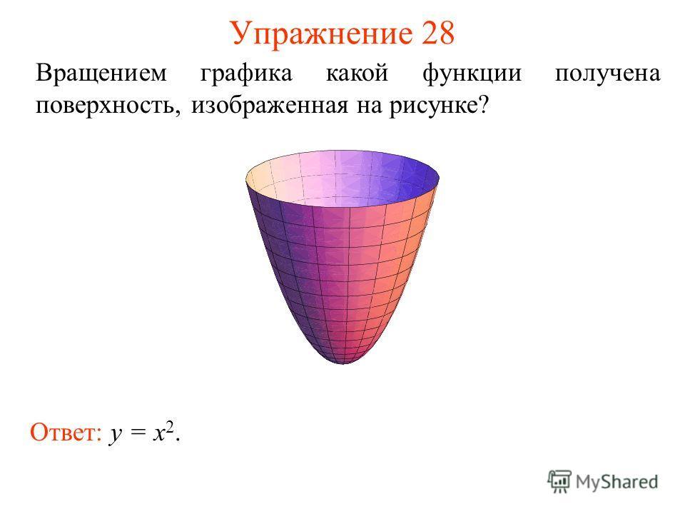 Упражнение 28 Вращением графика какой функции получена поверхность, изображенная на рисунке? Ответ: y = x 2.