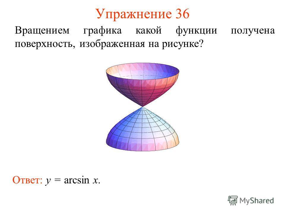 Упражнение 36 Вращением графика какой функции получена поверхность, изображенная на рисунке? Ответ: y = arcsin x.