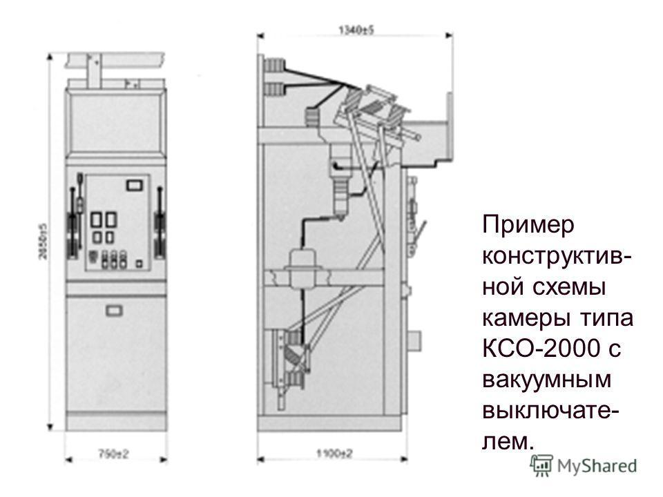 Пример конструктив- ной схемы камеры типа КСО-2000 с вакуумным выключате- лем.