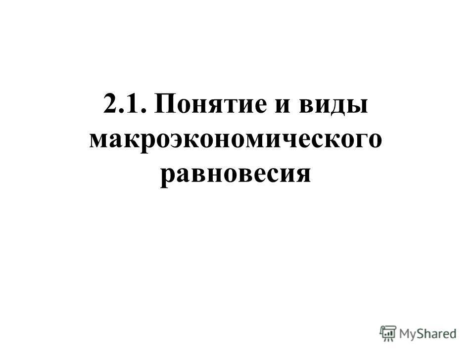 2.1. Понятие и виды макроэкономического равновесия