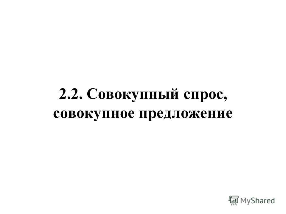 2.2. Совокупный спрос, совокупное предложение