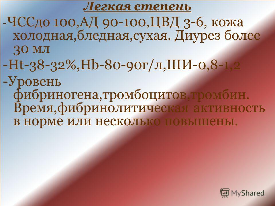 Легкая степень - ЧССдо 100,АД 90-100,ЦВД 3-6, кожа холодная,бледная,сухая. Диурез более 30 мл -Ht-38-32%,Hb-80-90г/л,ШИ-0,8-1,2 -Уровень фибриногена,тромбоцитов,тромбин. Время,фибринолитическая активность в норме или несколько повышены.