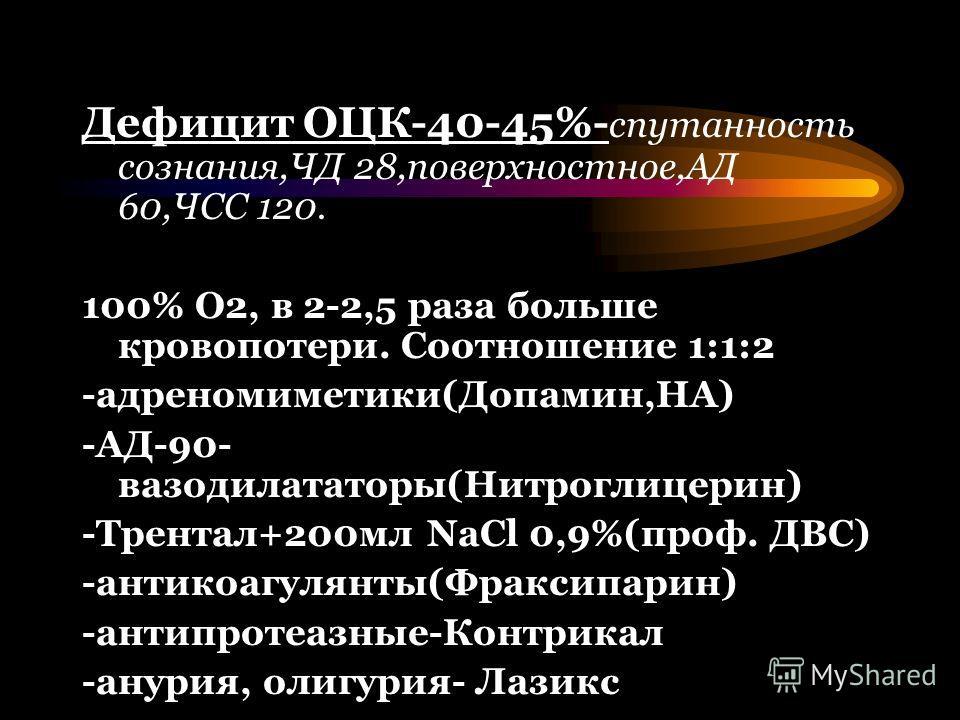 Дефицит ОЦК-40-45%- спутанность сознания,ЧД 28,поверхностное,АД 60,ЧСС 120. 100% О2, в 2-2,5 раза больше кровопотери. Соотношение 1:1:2 -адреномиметики(Допамин,НА) -АД-90- вазодилататоры(Нитроглицерин) -Трентал+200мл NaCl 0,9%(проф. ДВС) -антикоагуля