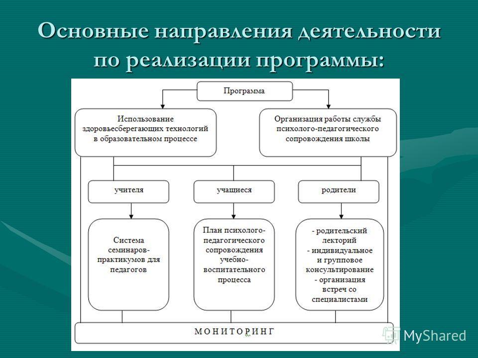 Основные направления деятельности по реализации программы: