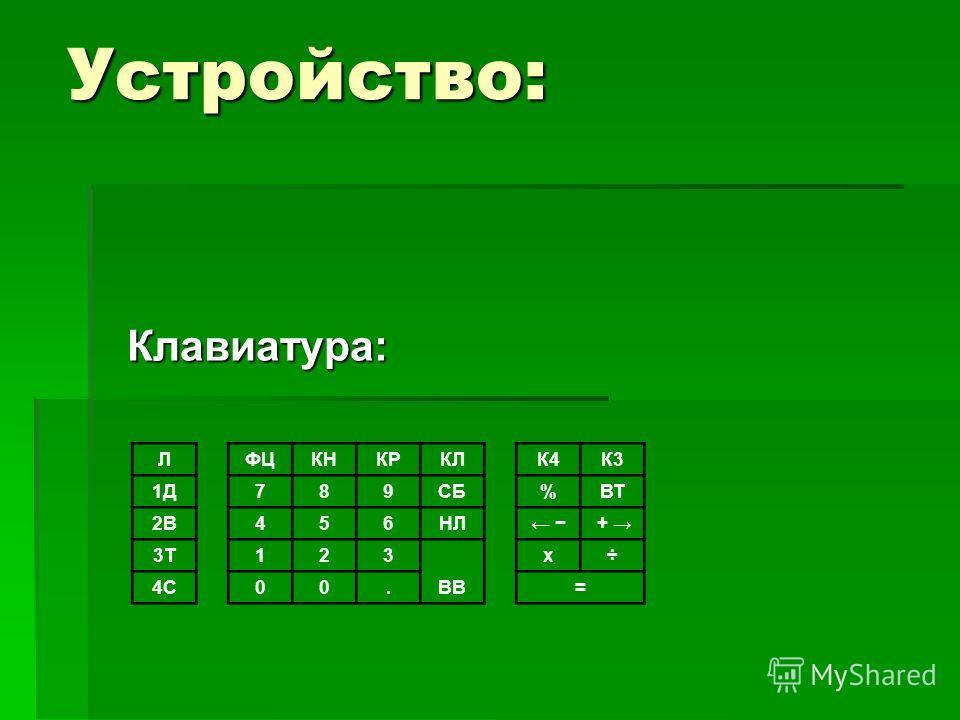 Устройство: Клавиатура: ЛФЦКНКРКЛ К4К3 1Д789СБ %ВТ 2В456НЛ + 3Т123 ВВ х÷ 4С00. =