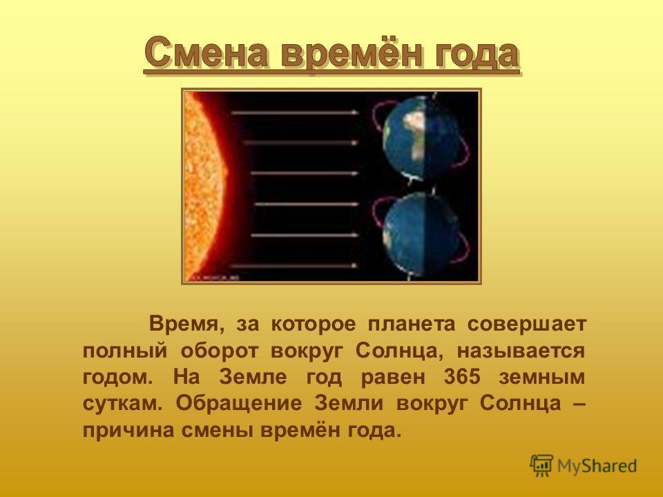 Время, за которое планета совершает полный оборот вокруг Солнца, называется годом. На Земле год равен 365 земным суткам. Обращение Земли вокруг Солнца – причина смены времён года.
