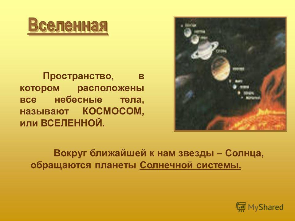 Пространство, в котором расположены все небесные тела, называют КОСМОСОМ, или ВСЕЛЕННОЙ. Вокруг ближайшей к нам звезды – Солнца, обращаются планеты Солнечной системы.