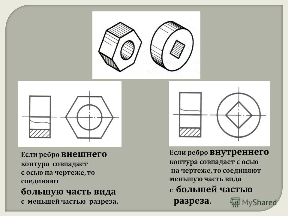 Если ребро внешнего контура совпадает с осью на чертеже, то соединяют большую часть вида с меньшей частью разреза. Если ребро внутреннего контура совпадает с осью на чертеже, то соединяют меньшую часть вида с большей частью разреза.