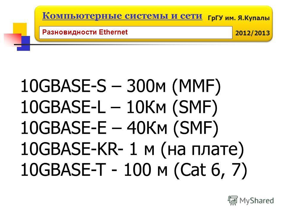 ГрГУ им. Я.Купалы 2012/2013 Компьютерные системы и сети 10GBASE-S – 300м (MMF) 10GBASE-L – 10Км (SMF) 10GBASE-E – 40Км (SMF) 10GBASE-KR- 1 м (на плате) 10GBASE-T - 100 м (Cat 6, 7) Разновидности Ethernet
