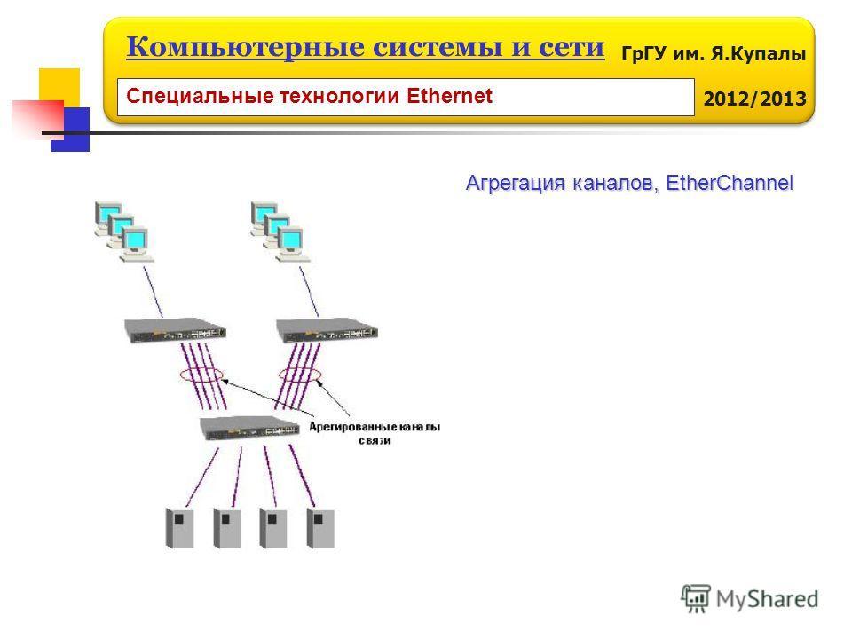 ГрГУ им. Я.Купалы 2012/2013 Компьютерные системы и сети Специальные технологии Ethernet Агрегация каналов, EtherChannel