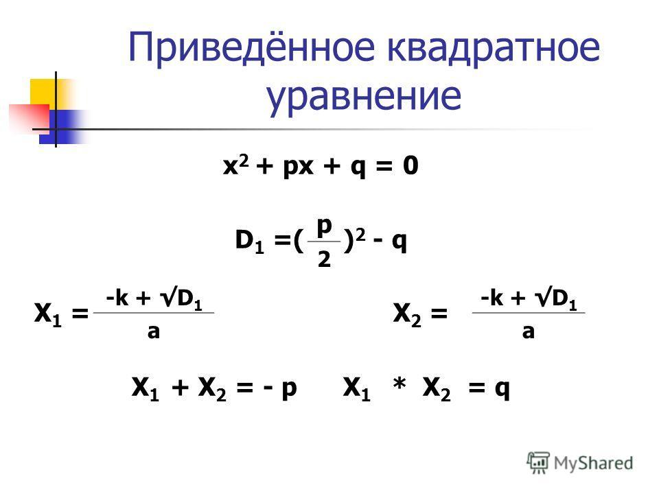 Приведённое квадратное уравнение х 2 + pх + q = 0 D 1 =( ) 2 - q Х 1 = Х 2 = Х 1 + Х 2 = - р Х 1 * Х 2 = q -k + D 1 a a p 2