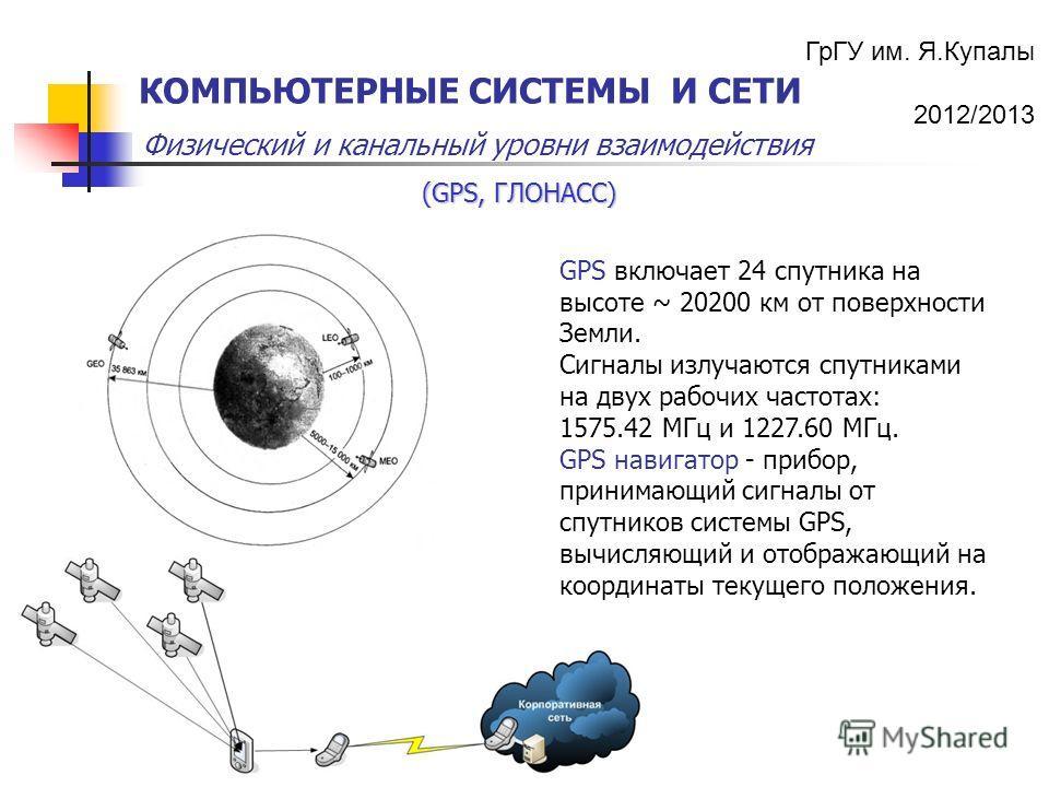 ГрГУ им. Я.Купалы 2012/2013 Физический и канальный уровни взаимодействия КОМПЬЮТЕРНЫЕ СИСТЕМЫ И СЕТИ GPS включает 24 спутника на высоте ~ 20200 км от поверхности Земли. Сигналы излучаются спутниками на двух рабочих частотах: 1575.42 МГц и 1227.60 МГц