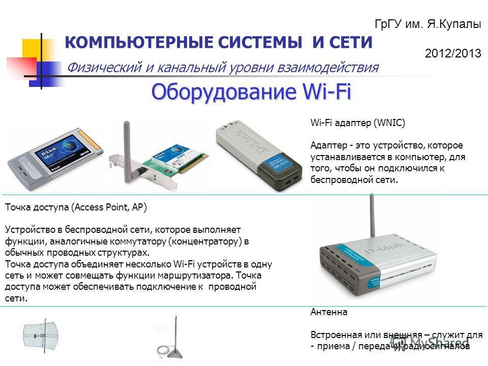 ГрГУ им. Я.Купалы 2012/2013 Физический и канальный уровни взаимодействия КОМПЬЮТЕРНЫЕ СИСТЕМЫ И СЕТИ Оборудование Wi-Fi Точка доступа (Access Point, AP) Устройство в беспроводной сети, которое выполняет функции, аналогичные коммутатору (концентратору