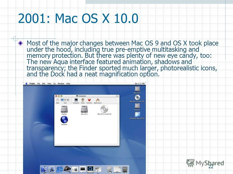 22 2001: Mac OS X 10.0 Most of the major changes between Mac OS 9 and OS X took place under the hood, including true pre-emptive multitasking and memory protection. But there was plenty of new eye candy, too: The new Aqua interface featured animation