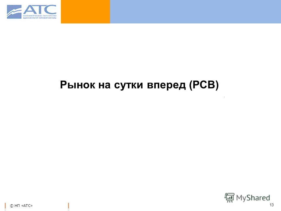 © НП «АТС» 13 Рынок на сутки вперед (РСВ)