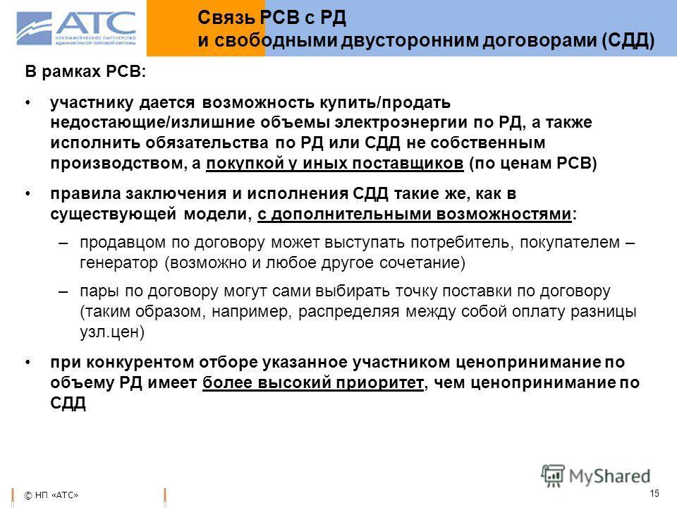 © НП «АТС» 15 Связь РСВ с РД и свободными двусторонним договорами (СДД) В рамках РСВ: участнику дается возможность купить/продать недостающие/излишние объемы электроэнергии по РД, а также исполнить обязательства по РД или СДД не собственным производс