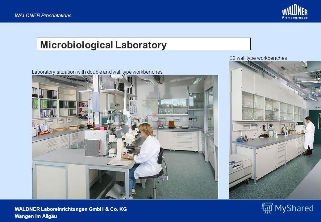 WALDNER Laboreinrichtungen GmbH & Co. KG Wangen im Allgäu WALDNER Presentations Microbiological Laboratory S2 wall type workbenches Laboratory situation with double and wall type workbenches