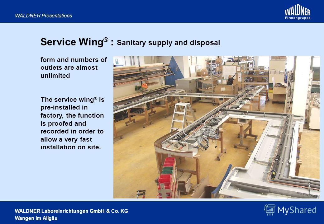 WALDNER Laboreinrichtungen GmbH & Co. KG Wangen im Allgäu WALDNER Presentations form and numbers of outlets are almost unlimited The service wing ® is pre-installed in factory, the function is proofed and recorded in order to allow a very fast instal