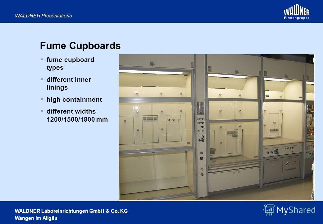 WALDNER Laboreinrichtungen GmbH & Co. KG Wangen im Allgäu WALDNER Presentations Fume Cupboards fume cupboard types different inner linings high containment different widths 1200/1500/1800 mm