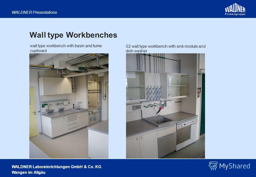 WALDNER Laboreinrichtungen GmbH & Co. KG Wangen im Allgäu WALDNER Presentations wall type workbench with basin and fume cupboard S2 wall type workbench with sink module and dish washer Wall type Workbenches